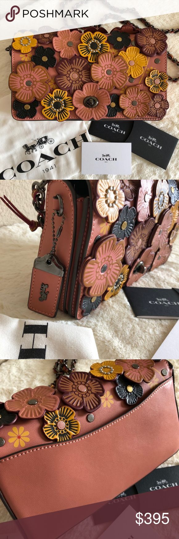 """COACH 1941 Tea Rose Appliqué Dinky Crossbody 100% Authentic. Original bought from Nordstrom last year. Barely Used, Like New, Very Clean Outside And Inside. Comes with dust bag and card care  Retail: 595  PRODUCT DETAILS Crafted in modern glovetanned cowhide, it has a chain strap woven through with a slender ribbon of leather. Turnlock closure, leather lining Inside open and French purse pockets Outside slip pocket Strap with 22"""" drop for shoulder or crossbody wear 9""""W x 2.25""""D x 5.5""""H…"""