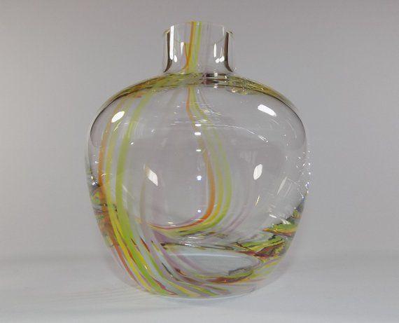 Vintage Caithness Studio Art Glass Ribbon Trail Bottle Vase Vase Crafts Wooden Vase Round Glass Vase