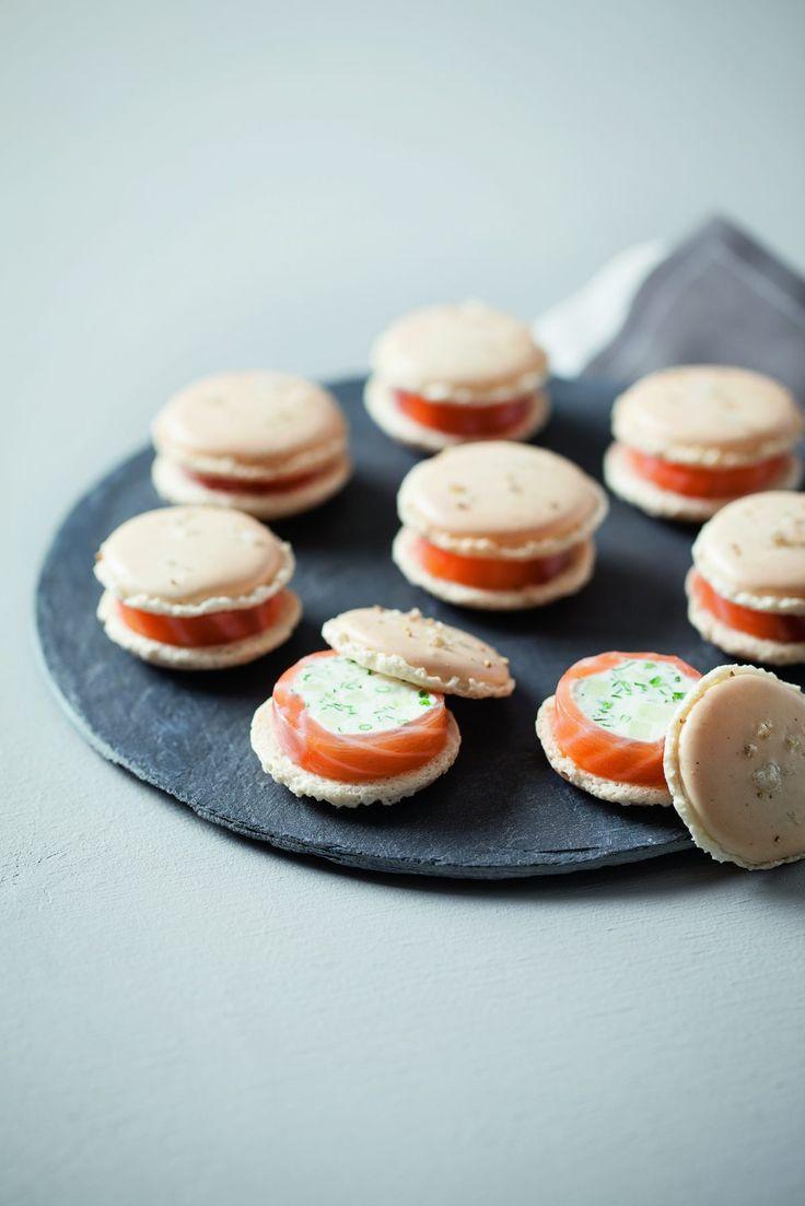 Recette de macarons chèvre frais, saumon et pomme verte