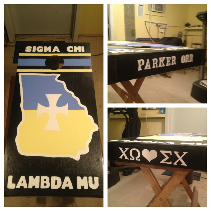 custom built and hand painted Sigma Chi cornhole boards. made these for my boyfriend's Christmas present!