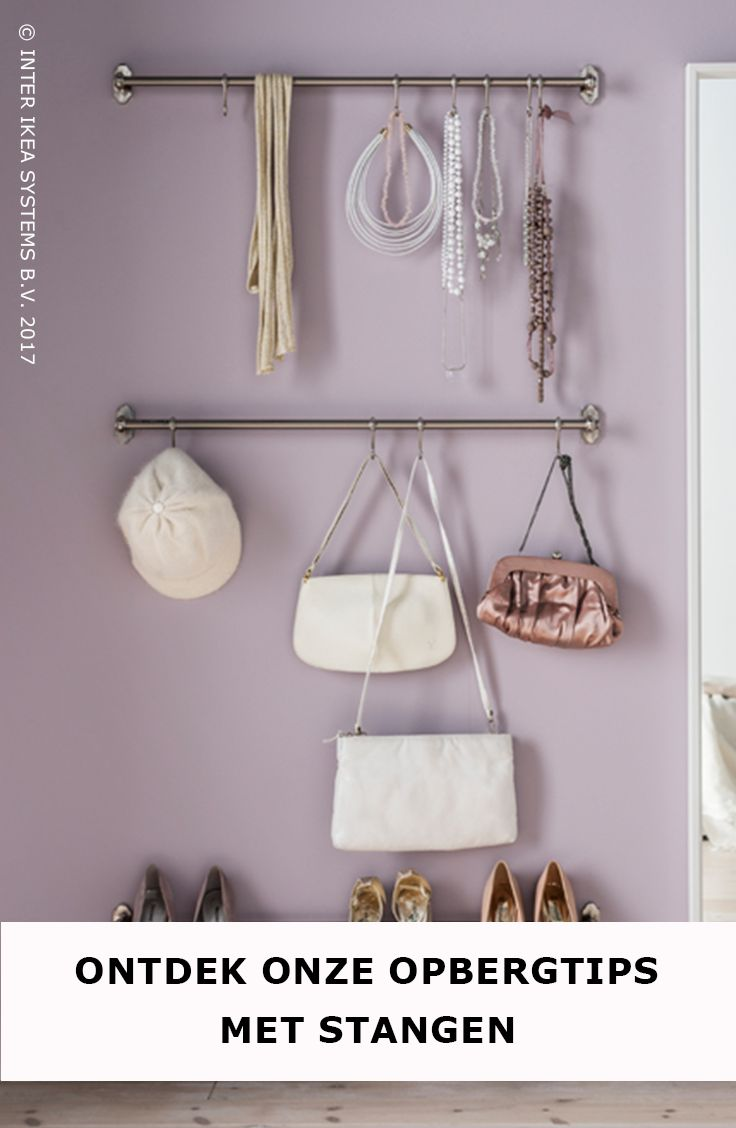 Ben jij een modefreak met een overvolle garderobe en heb je geen budget voor een inloopkast? Geen probleem! Gebruik stangen of haken en hang je schoenen en accessoires allemaal netjes op een rij. Ontdek onze opbergtips. FINTORP Stang, 8,99/st. #IKEABE #IKEAidee  Are you a fashion lover with an overflowing closet and you don't have enough budget for a walk-in closet? Use hooks or rails to arrange your shoes. Discover our organizing tips using rails. FINTORP Rail, 8,99/pce. #IKEABE #IKEAidea