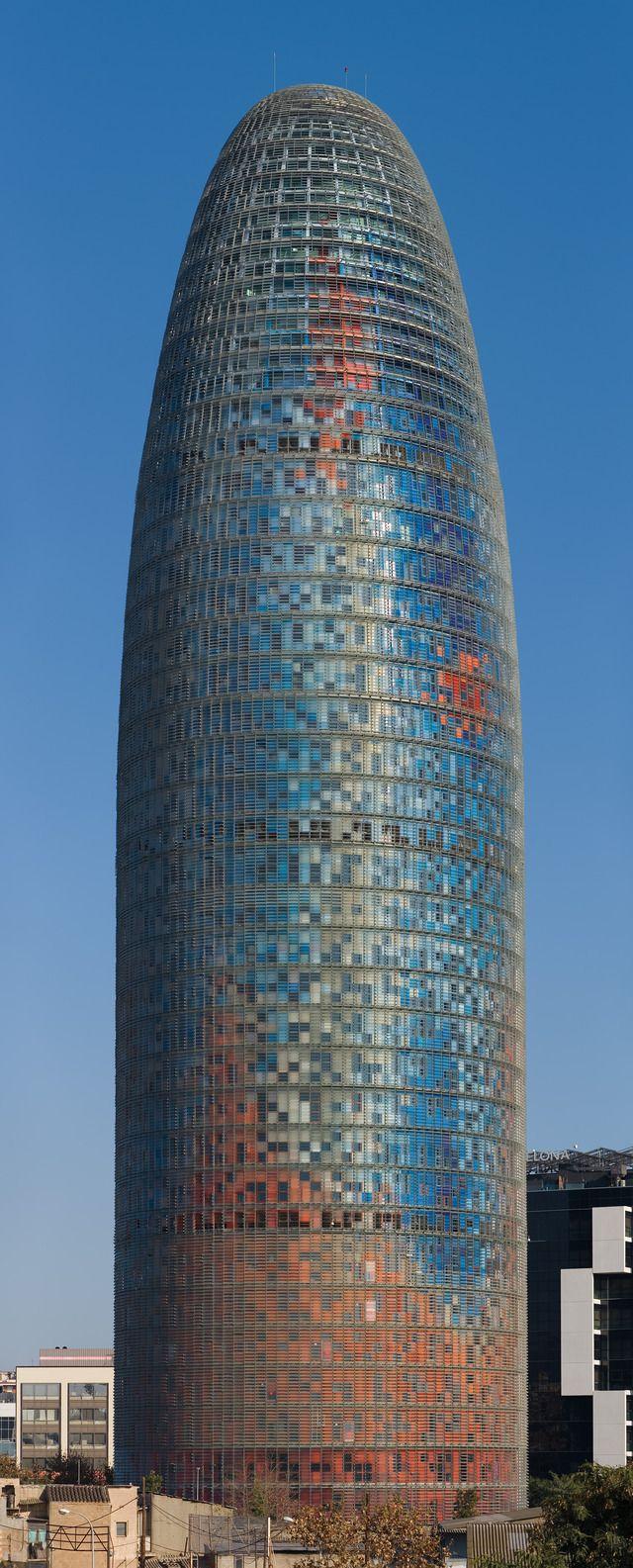 Torre Agbar, Barcelona, Catalonia, Spain.