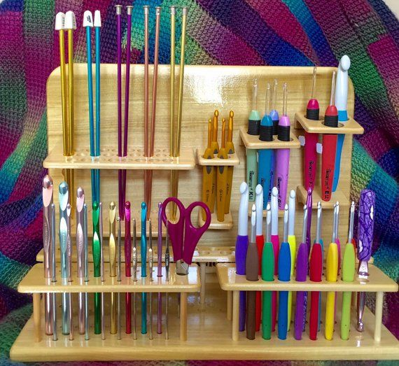 Wooden Crochet Hook Holder and Knitting Needles