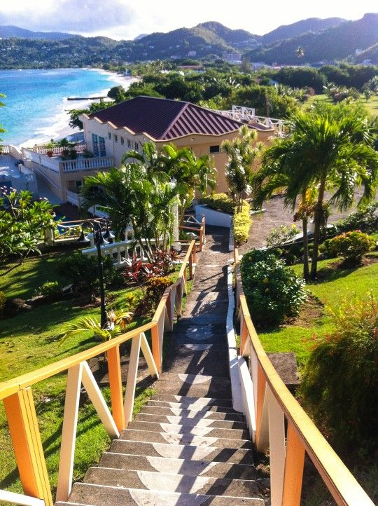 "Stairs to Grand Anse Beach in Grenada. Grenada is also known as the ""Island of Spice"" because of the production of nutmeg and mace crops of which it is one of the world's largest exporters."
