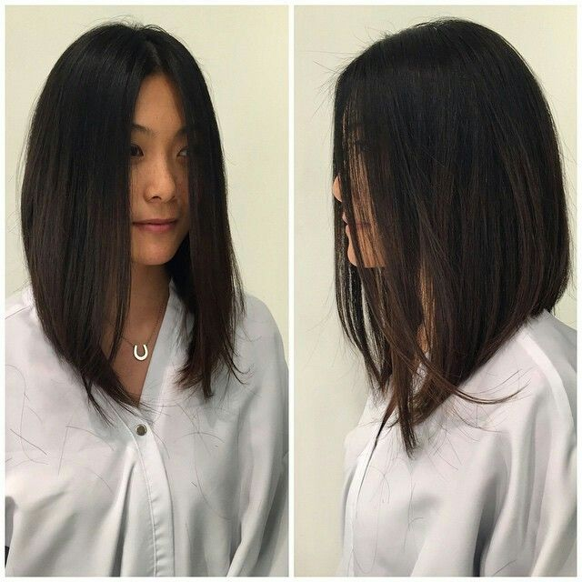 Finally a pic of the length I want! A line Bob Hair