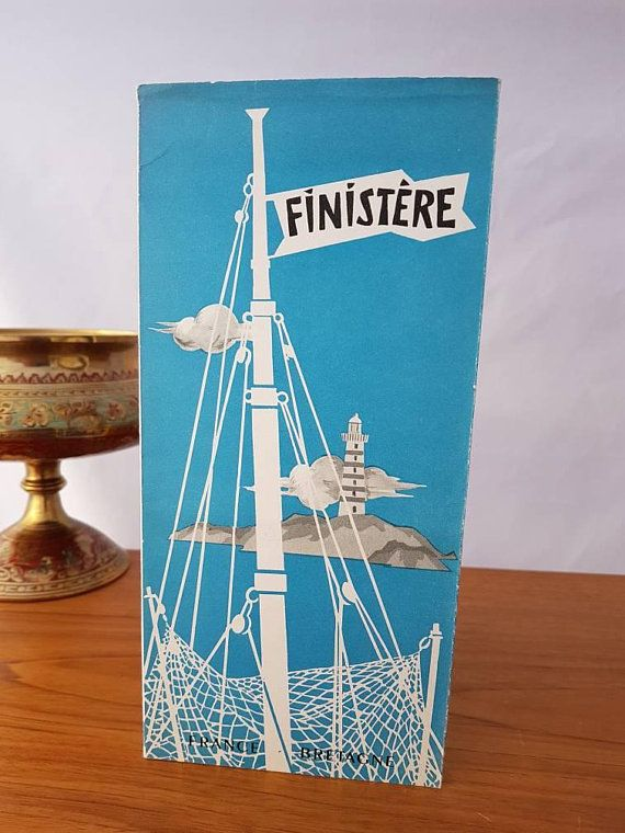 vintage 1950s french travel brochure and map for the finistere