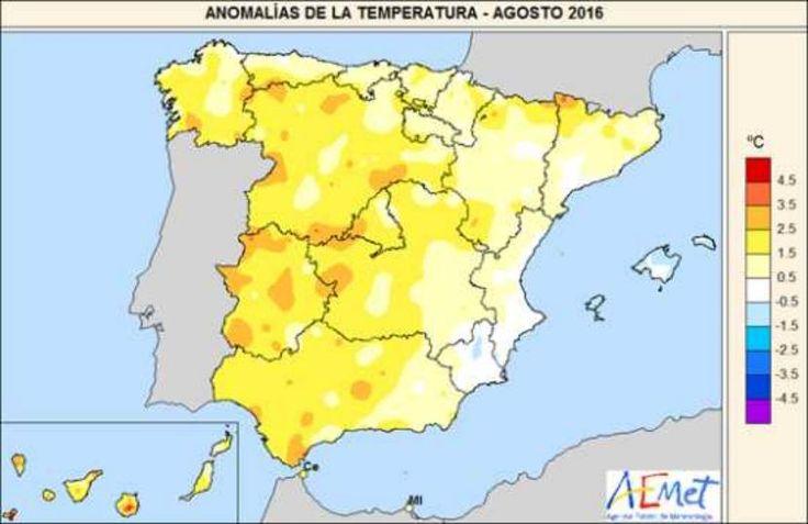 Resumen climatológico del mes de agosto 2016 en España - http://www.meteorologiaenred.com/resumen-climatologico-del-mes-de-agosto-de-2016-en-espana.html