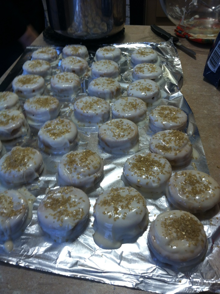 Ritz crackers stuffed with peanut butter and dipped in