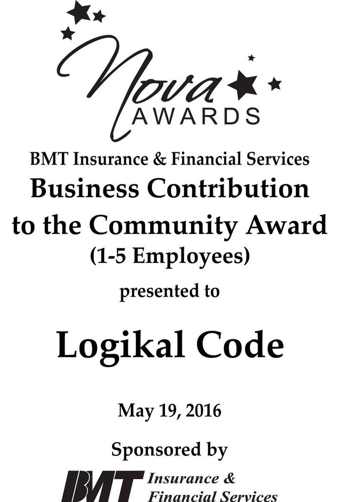 We won the #NOVA2016 BMT Insurance & Fiancial Services Business Contribution to the Community Award (1-5 Employees)! Woo-hoo! We couldn't have done it without your support! #Logikommunity #ItsOnlyLogikal
