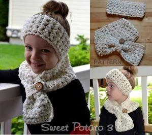 Crochet PATTERN  Scarf & Headband Set   by SweetPotato3Patterns by MaryHada