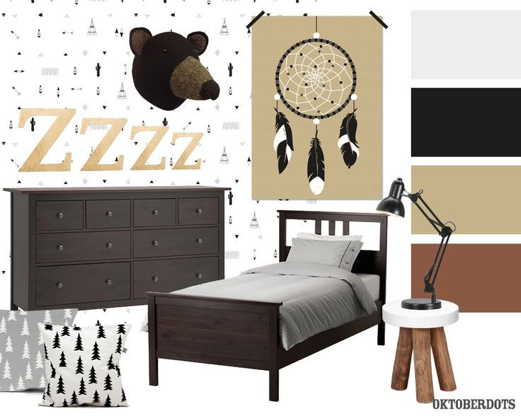 Cool Indians #kidsroom #bedroom collage with #colorscheme and a dreamcatcher poster