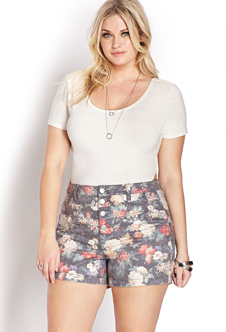 Fantasy Floral High-Waisted Shorts | FOREVER21 PLUS - 2000071150