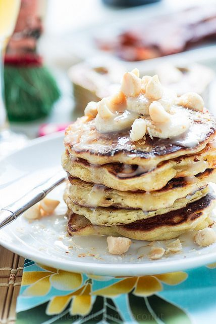 Coconut Banana Macadamia Nut Pancakes with Coconut Syrup  Via Pineapple and Coconut Blog for Cost Plus World Market >> #WorldMarket Breakfast and Brunch Recipes, Entertainment ideas