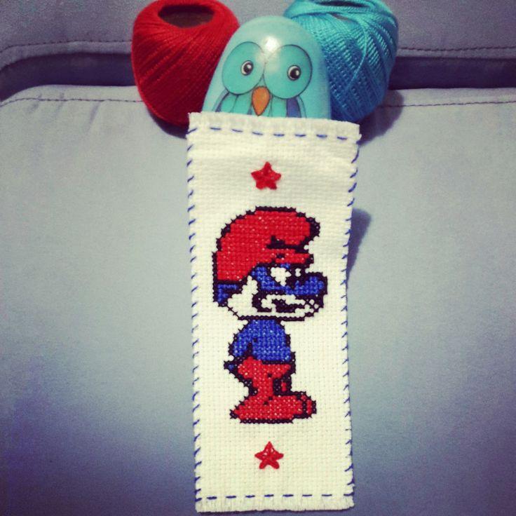 cross stitch smurf bookmark