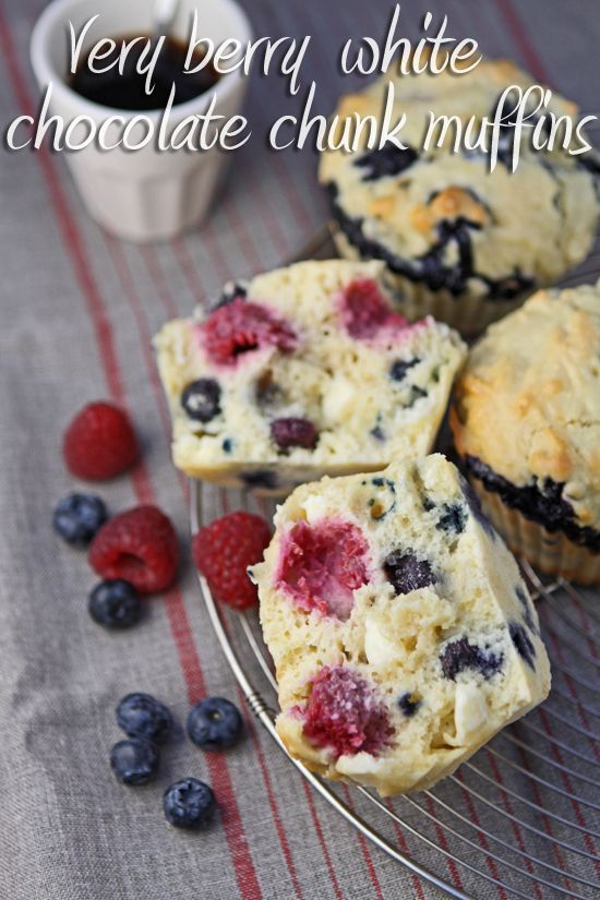These muffins are packed with the goodness of berries but also with the indulgence of white chocolate.  Whip up a batch in under 45 minutes!  |  cooksister.com #muffins #baking #berries