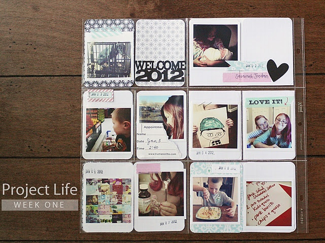 Project Life - instagram photos, washi tape, die cut titles