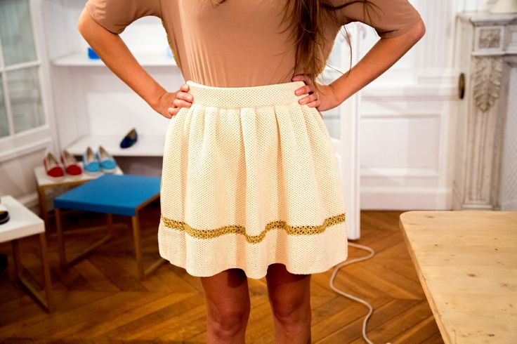 Lovely knitted ecru and gold skirt.