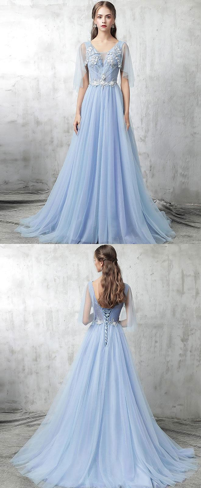 Blue v neck tulle lace applique long prom dress, blue evening dress, blue formal dresses