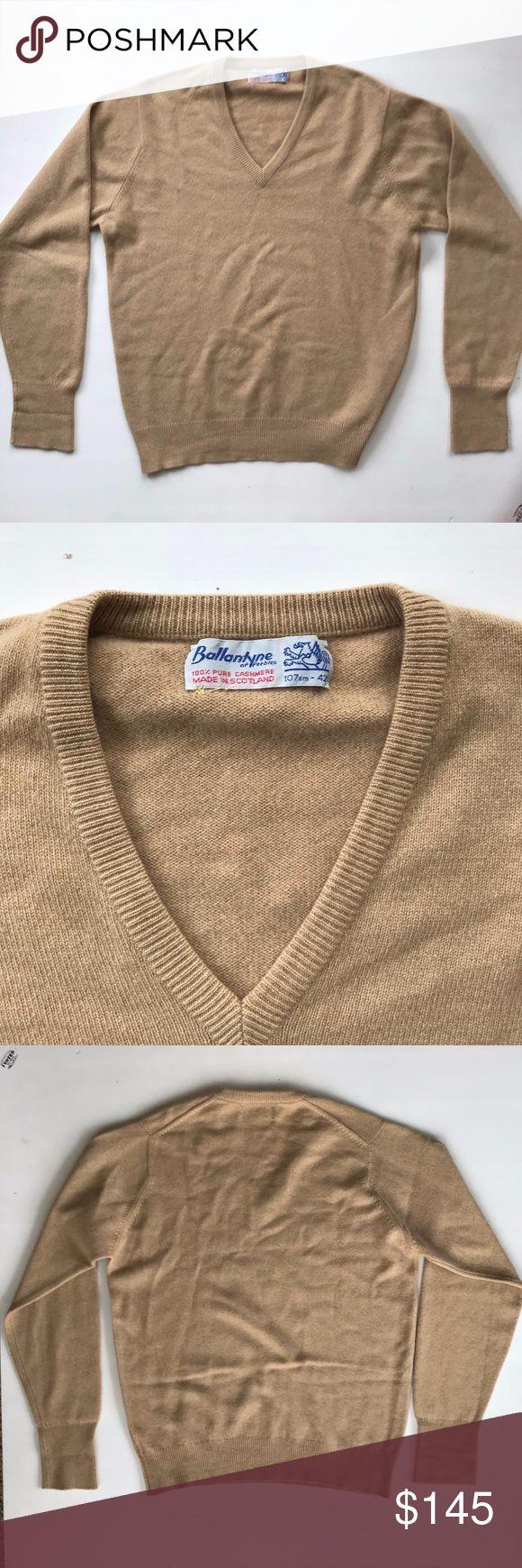 Men's 100% Cashmere Sweater - Ballantyne - Men's 100% Brown / Tan Pure Cashmere V-neck Sweater from Ballantyne. Made in Scotland. Size: 107cm-42cm Ballantyne Sweaters V-Neck