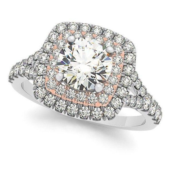 Allurez Square Double Halo Diamond Engagement Ring 14k Two Tone Gold...  (172.215