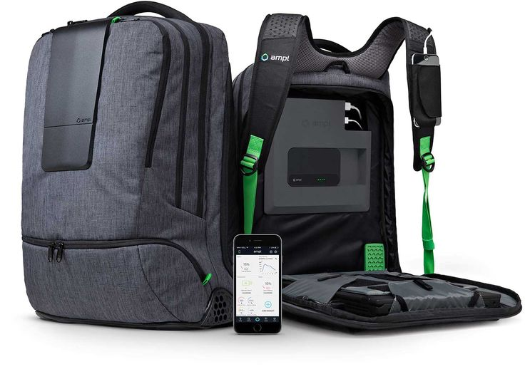 AMPL SmartBackpack: Never worry about running out of power again. AMPL's intelligent power management system and integrated SmartBattery charges phones, tablets, and other gadgets through 7 USB outlets accessible inside every pocket. You can even charge laptops or other items you typically plug into the wall with an optional expansion battery and AC Inverter module.