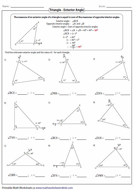 Angles in a triangle worksheet grade 6