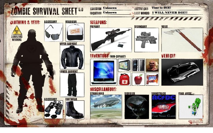 """""""If you are generally well equipped to deal with a zombie apocalypse you will be prepared for a hurricane, pandemic, earthquake, or terrorist attack."""" So please log on, get a kit, make a plan"""
