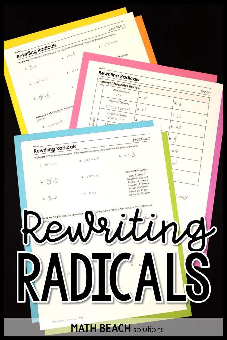 How Do You Get Students Prepared For A Unit On Radical Functions Teach A Lesson On Rewriting Radicals U Radicals Math Exponent Worksheets Simplifying Radicals