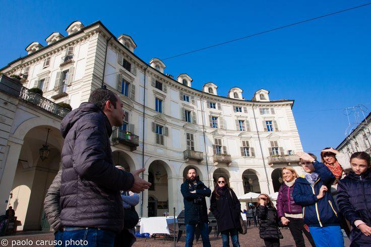 #Torino, piazza Vittorio Veneto, si parte con il #Chocolate #tour delle Guide #Bogianen