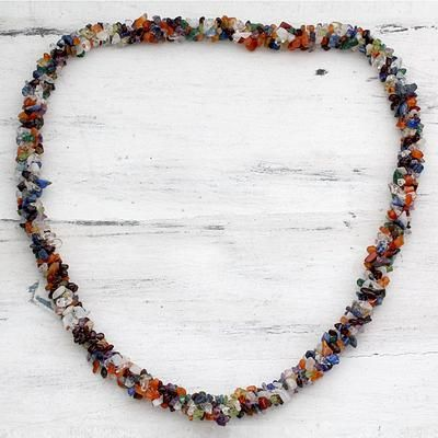 Lapis and amethyst long necklace, 'Rainbow'. Shop from #UNICEFMarket and help save the lives of children around the world.