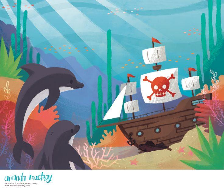 Exploring Dolphins - by Amanda MacKay Illustration