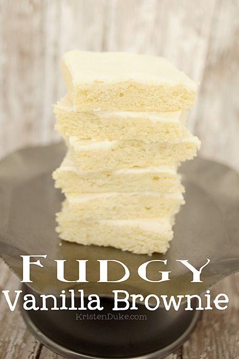 Fudgy Vanilla Brownie, also known as White Texas Sheet Cake, this recipe is AMAZING! KristenDuke.com
