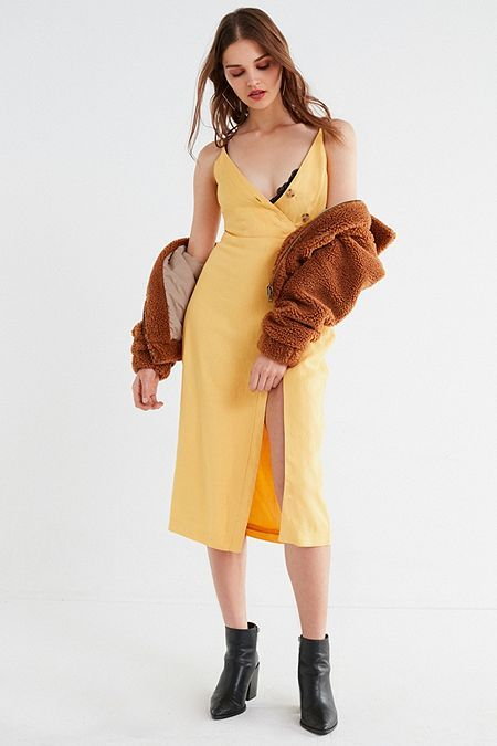 02946084d53 UO Amber Yellow Linen Button-Through Midi Dress