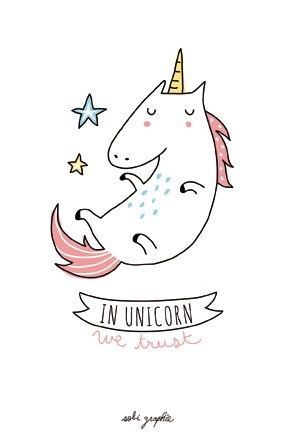 Carte A6 350gr In Unicorn We Trust par Sobigraphie sur Etsy