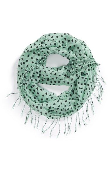 BP. Heart Print Fringed Infinity Scarf available at #Nordstrom