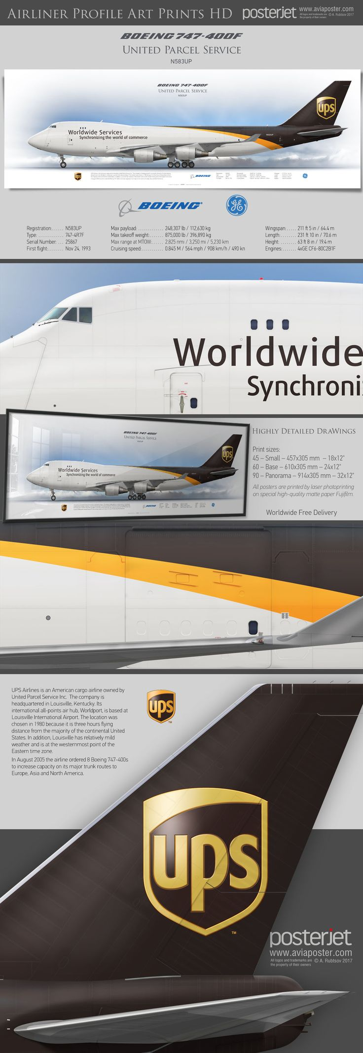 Boeing 747-400f UPS Airlines N583UP   www.aviaposter.com   #airliners #aviation #jetliner #airplane #pilot #aviationlovers #avgeek #jet #airport #pilotlife #cabincrew #jumbojet