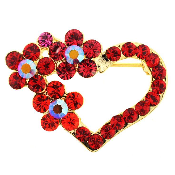 Valentineu0027s Day Red Flower Heart Swarovski Crystal Pin Brooch
