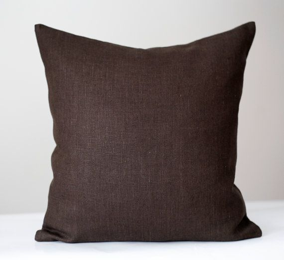 Brown linen pillow cover sewn from natural linen fabric. This cushion case may be sewn in custom size. Chocolate brown always classic, linen accent