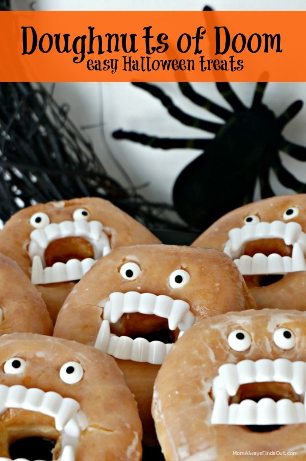 Easy Halloween Treats - Doughnuts with fake vampire teeth and candy eyes. Fun part idea, the kids love it!
