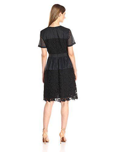 Lark & Ro Women's Short Sleeve Mixed Lace Dress $69.50
