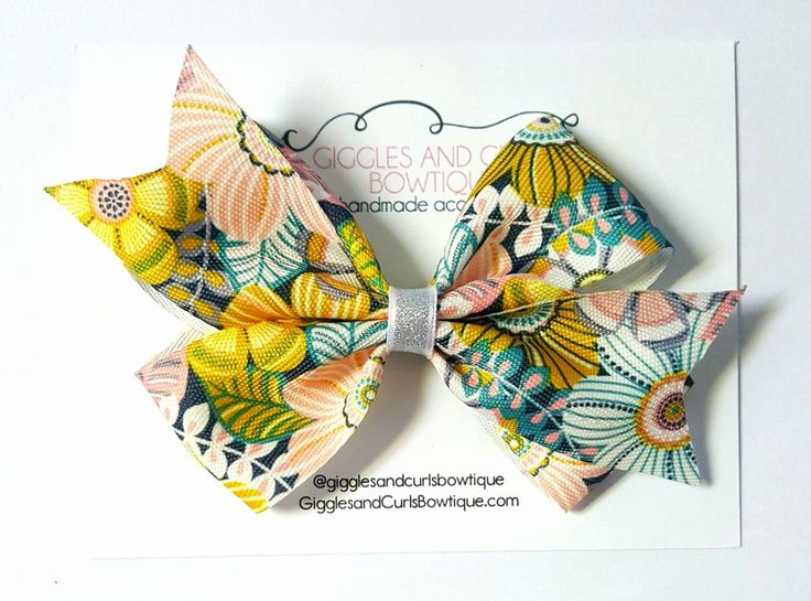 Floral 4 inch  hair bow -girls hair bows - toddler hair bows - 4 inch bows - big hair bows - girl bow - baby hair bow by GigglesandCurls09 on Etsy