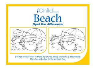 This beach spot the difference activity sheet will keep your child busy, plus the pictures can be coloured in too! Can your child spot them all? Find lots more on iChild.co.uk
