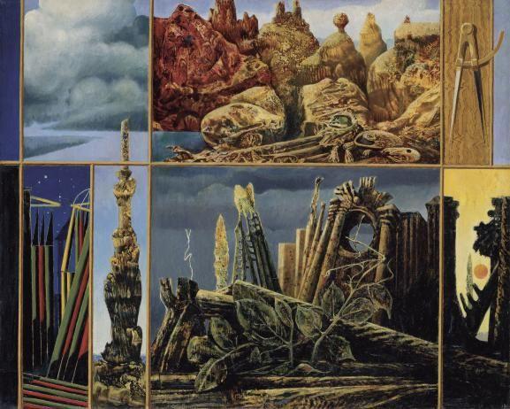 "Max Ernst, ""Peinture pour les jeunes"", 1943. Huile sur toile, 60,5 × 76,5 cm. Collection Ulla und Heiner Pietzsch, Berlin. | 2013, PROLITTERIS, ZURICH / PHOTO JOCHEN LITTKEMANN, BERLIN"