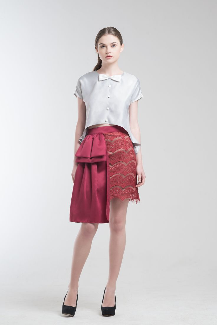 Crest Top in Grey and Illona Skirt from Jolie Clothing  #JolieClothing www.jolie-clothing.com  #Fashion #designer #jolie #Charity #foundation #World #vision #indonesia  #online #shop #stefanitan #fannytjandra #blogger