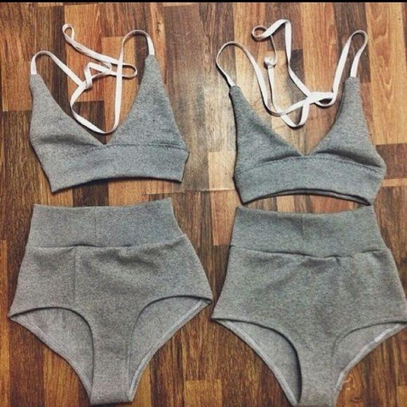NEW HIGH WAISTED GREY BIKINI Medium Superior quality Penrod grey triangle high waisted bikini Swim Bikinis