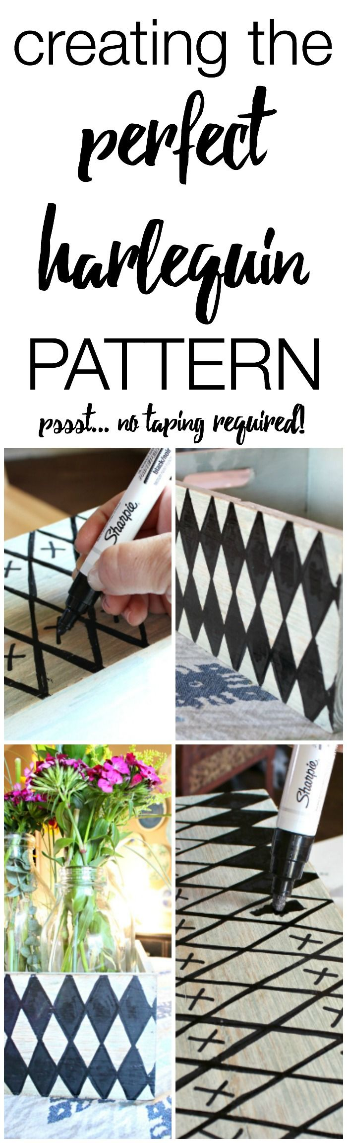 How to create the perfect Harlequiin pattern on painted furniture -- Sharpie Designs on Furniture - Refunk My Junk