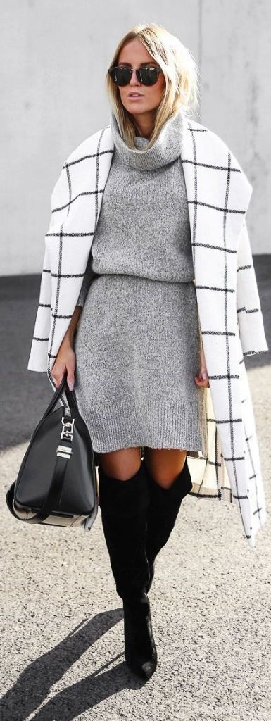 #winter #fashion / gray knit dress