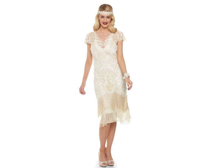 US12 UK16 AUS16 EU44 Vegas Creme Flapper Kleid 1920er Jahren große Gatsby Downton Abbey Brautjungfer Hochzeit Empfang Bridal Dusche Rehearsal Dinner
