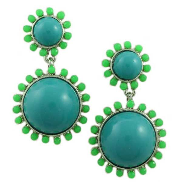 FE402-Blue and Green Domes Pierced Earring