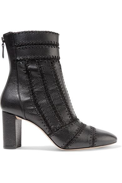 Alexandre Birman - Beatrice Whipstitched Textured-leather Ankle Boots - Black